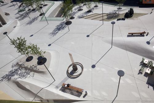 Der Eduard-Wallnöfer-Platz aus der Vogelperspektive